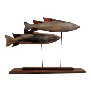 Vintage Coastal Driftwood Artisan Made Swimming Fish Sculpture For Sale