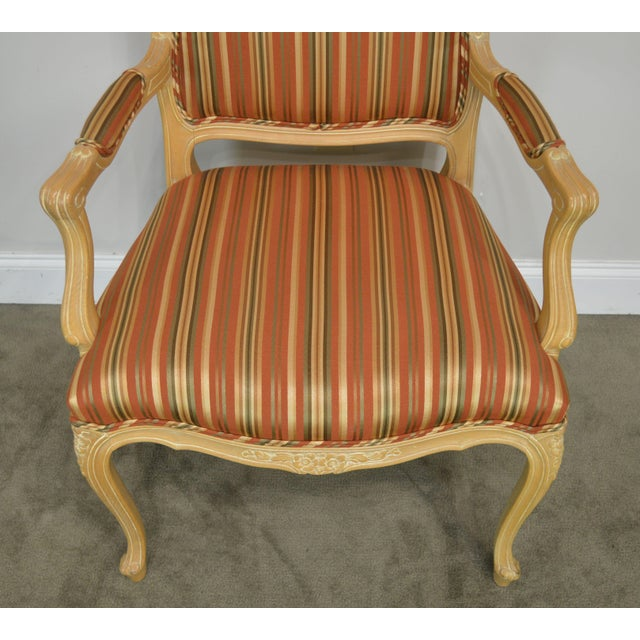 Red Ethan Allen Home Collection Louis XV Style Armchair Made in Italy For Sale - Image 8 of 13