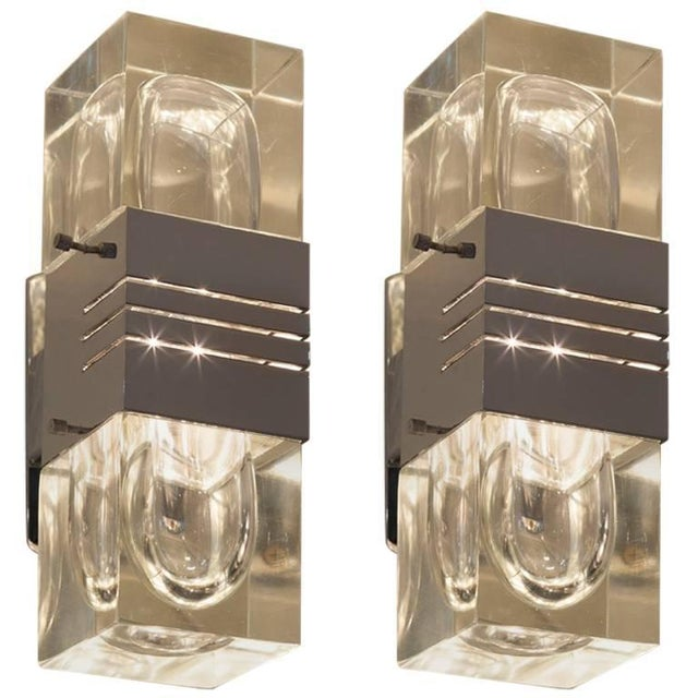 Pair of Midcentury Italian Glass and Chrome Sconces - Image 3 of 3