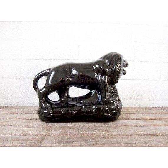 Vintage Black Ceramic Lion Figure - Image 3 of 6