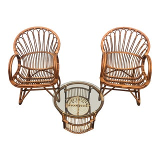 Vintage Mid Century Franco Albini Style Stick Rattan Seating Set - 3 Piece For Sale