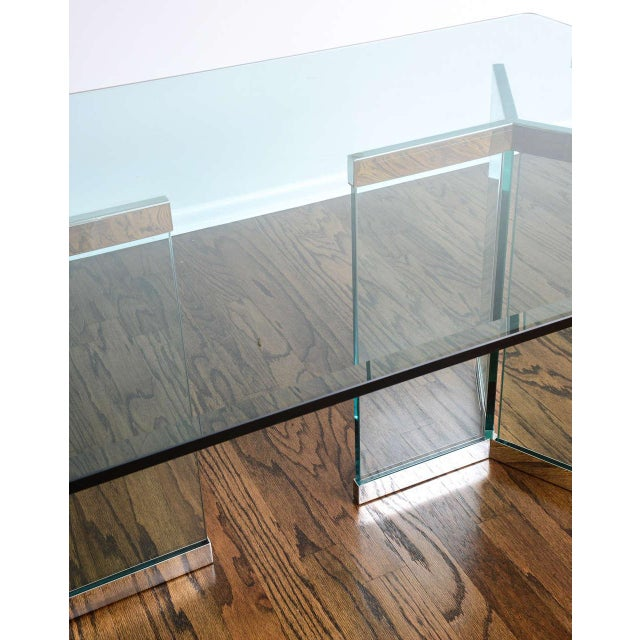 1970s Leon Rosen for Pace Collection Chrome & Glass Rectangular Dining Table For Sale - Image 9 of 10