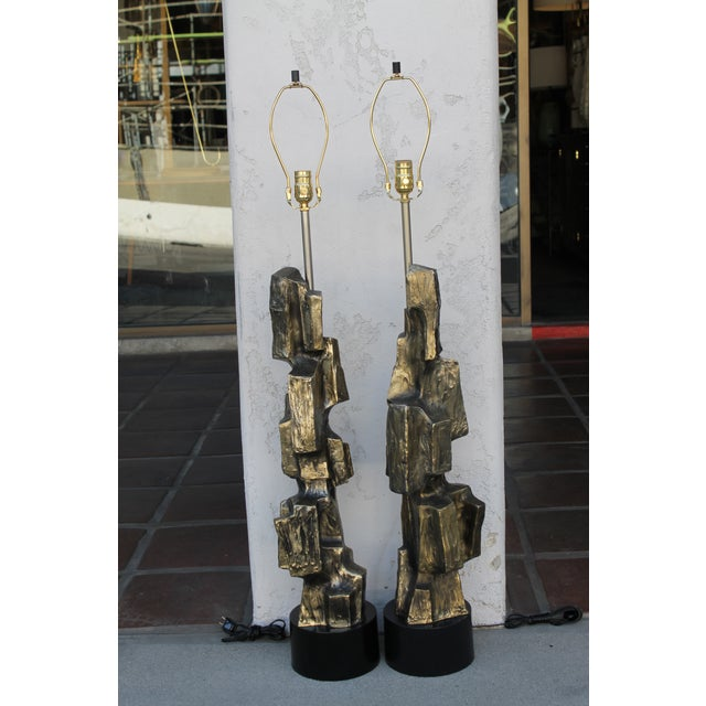 Black Brutalist Lamps by Harry Balmer for Laurel Lamp Co. - a Pair For Sale - Image 8 of 8