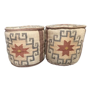 Morrocan Themed Cotton Stuffed Ottomans - a Pair