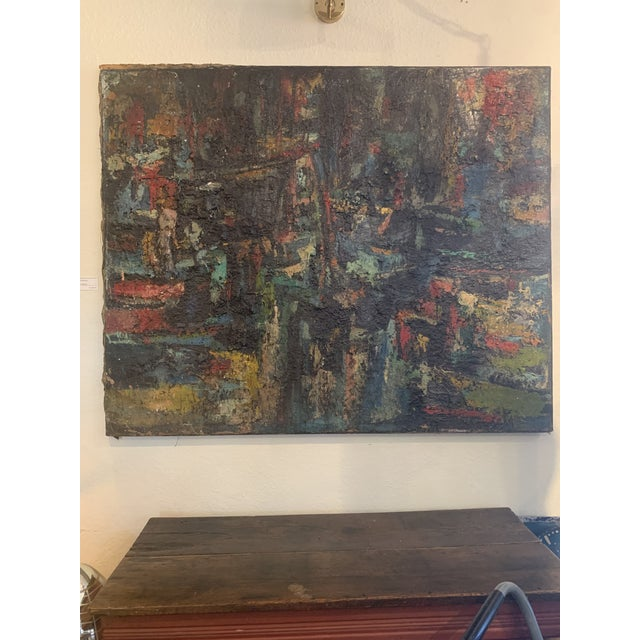 "Abstract 1960s Vintage Joo-Yon Ohm Ceerderberg ""Midnight Fire"" Large Abstract Painting For Sale - Image 3 of 9"