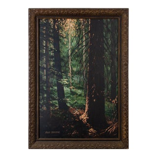 """1973 Fred Monroe """"Deep Forest"""" Oil Painting For Sale"""