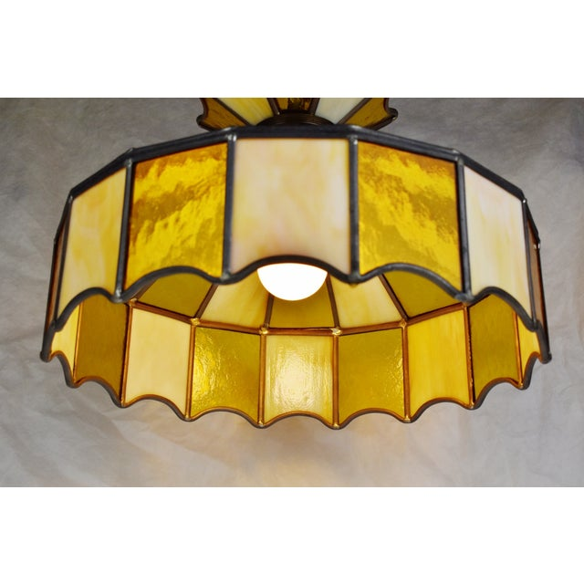 Metal Vintage Tiffany Style Leaded Glass Pendant Light Chandelier For Sale - Image 7 of 13