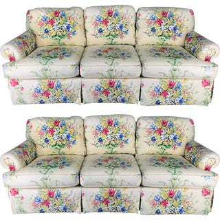 Floral Upholstered Sofas by Sherrill - A Pair For Sale