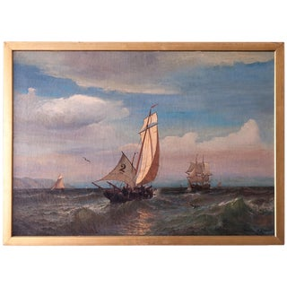"""Regatta on a Choppy Sea"" Oil Painting on Canvas by Julian O. Davidson, Dated 1877 For Sale"