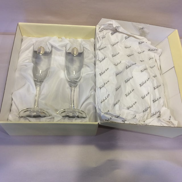 Valenti Vintage Crystal Flutes - A Pair For Sale - Image 11 of 11