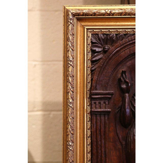 18th Century Carved Oak Panel of Jesus Christ Blessing in Giltwood Frame For Sale - Image 4 of 6