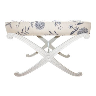 Crewel Upholstered Blue and White Cast Iron X Base Bench For Sale