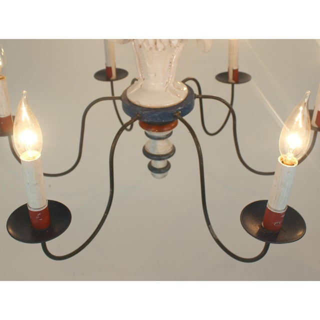 "Country French ""Rooster"" Chandelier For Sale - Image 9 of 11"