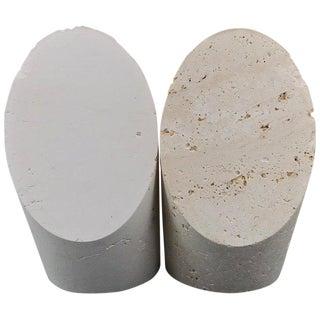 Fratelli Mannelli Marble Bookend Post Modern Vero Travertine Brutalist Sculpture For Sale