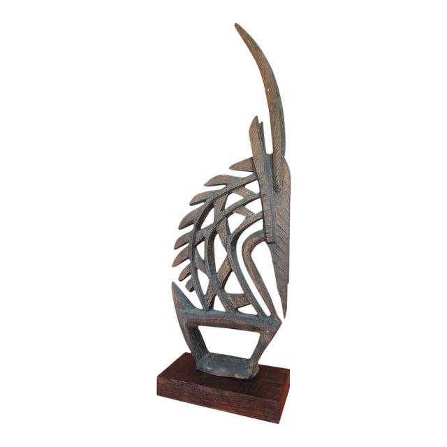 Large Antelope Chi Wara Head-Crest African Wood Carved Sculpture Primitive Art For Sale
