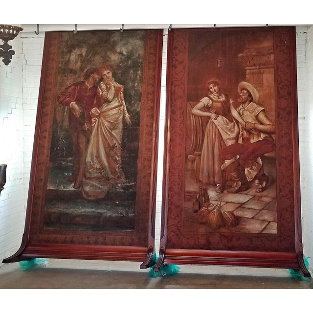 Pair of Monumental Framed Italian 18c Painted Tapestries For Sale In Dallas - Image 6 of 13