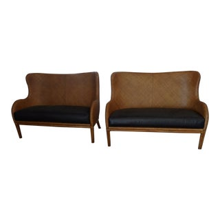 Henredon Wicker Settee With Leather Bench Seats - a Pair For Sale