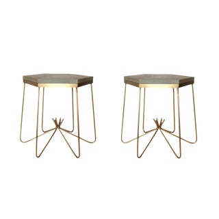 Pair of Richer Leather Top Side Tables For Sale