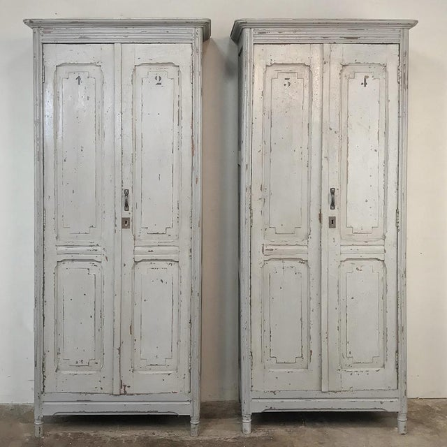 Pair Antique Painted Wooden Locker Cabinets For Sale - Image 13 of 13