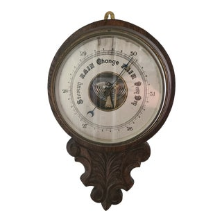 Vintage 20th Century Wooden Barometer For Sale