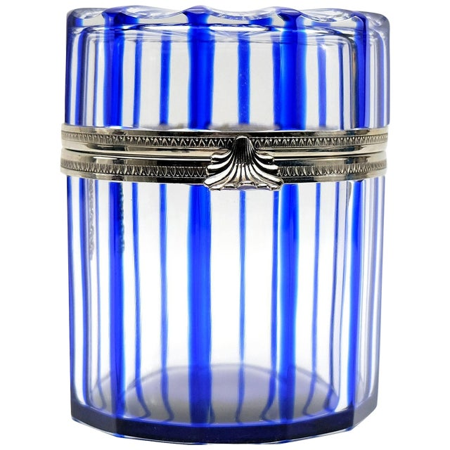 Cristal Benito Cobalt Blue and Cut Crystal Lidded Box, France For Sale