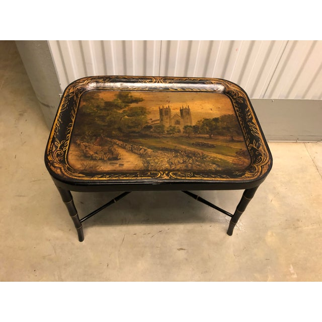 Faux Bamboo Table With Painted Tray For Sale - Image 4 of 12
