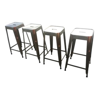 Industrial Style Metal Stools - Set of 4