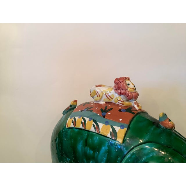 1980s Vintage Whimsical Glazed Ceramic Elephant Sculpture For Sale In West Palm - Image 6 of 12