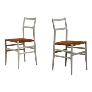 Gio Ponti Pair Rare Grey Leggera Chairs, Italy, 1950s For Sale