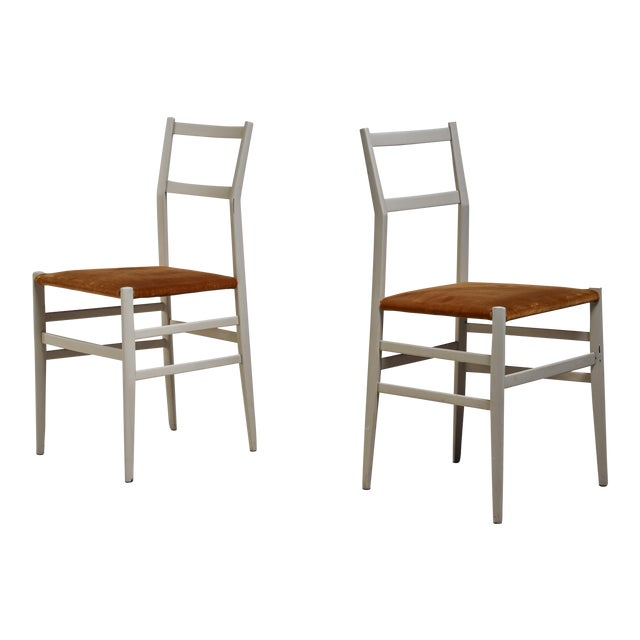 Gio Ponti Pair Rare Grey Leggera Chairs, Italy, 1950s For Sale