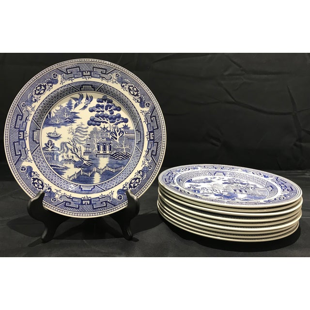 "Ceramic 1980s John Tams ""Blue Willow"" England Dinner Plates - Set of 10 For Sale - Image 7 of 7"