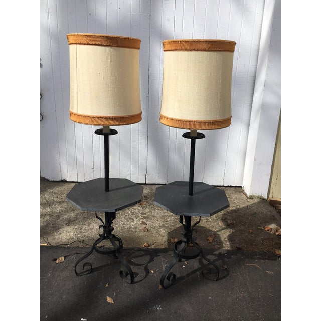 Stone Table Floor Lamps- A Pair - Image 3 of 4