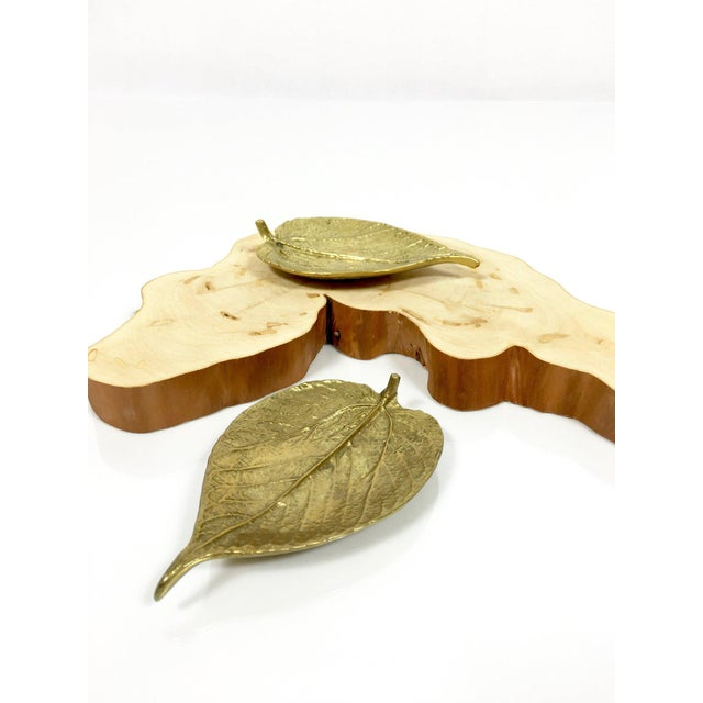 1948 Vintage Virginia Metalcrafters Brass Leaves Trinket Dishes - Set of 2 For Sale - Image 9 of 9
