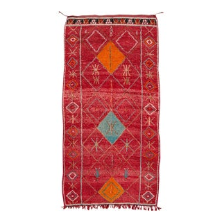 Mid-20th Century Vintage Moroccan Wool Rug 5 X 9 For Sale