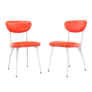 Pair of Red Upholstery Cast Aluminum Chairs For Sale