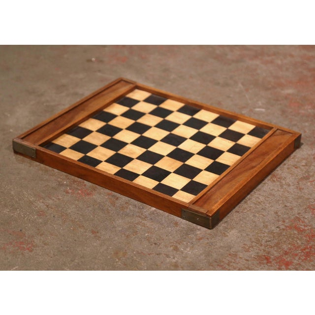 French 19th Century French Walnut Complete Checkers Board Game For Sale - Image 3 of 6