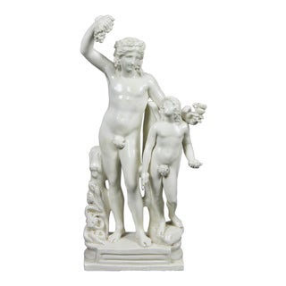 Creamware Figure of Bacchus with a Winged Boy For Sale