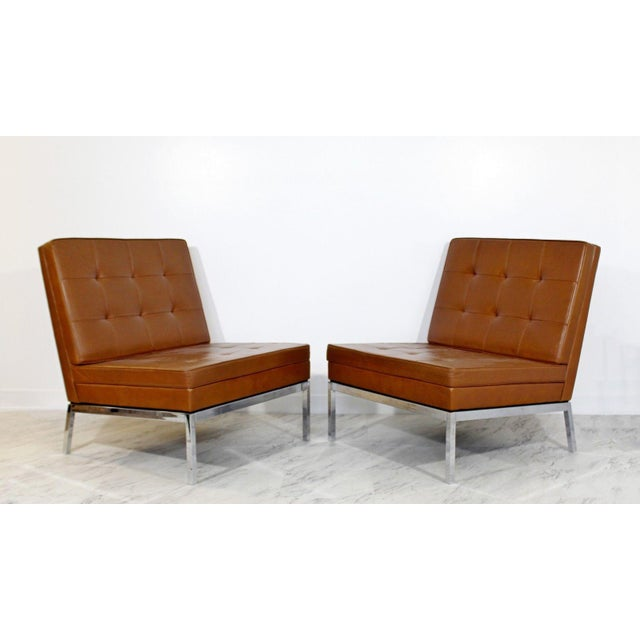 Knoll Mid Century Modern Pair Vintage Knoll Chrome Leather Slipper Chairs Model #65 For Sale - Image 4 of 10