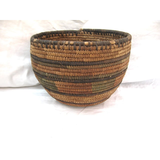 Boho Chic Native American Hand Woven Basket For Sale - Image 3 of 7