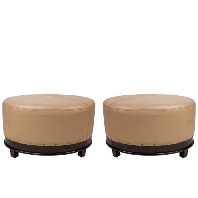 Pair of Mid-Century Modern Leather and Mahogany Ottomans For Sale - Image 9 of 9