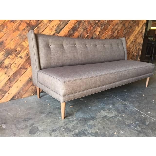 Mid Century Grey Sofa: Mid Century Style Custom Grey Brown Sofa