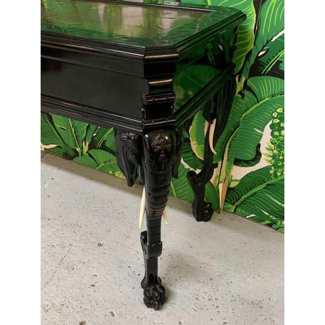 Black Intricate Carved Elephant Table in the Manner of Gampel Stoll For Sale - Image 8 of 13