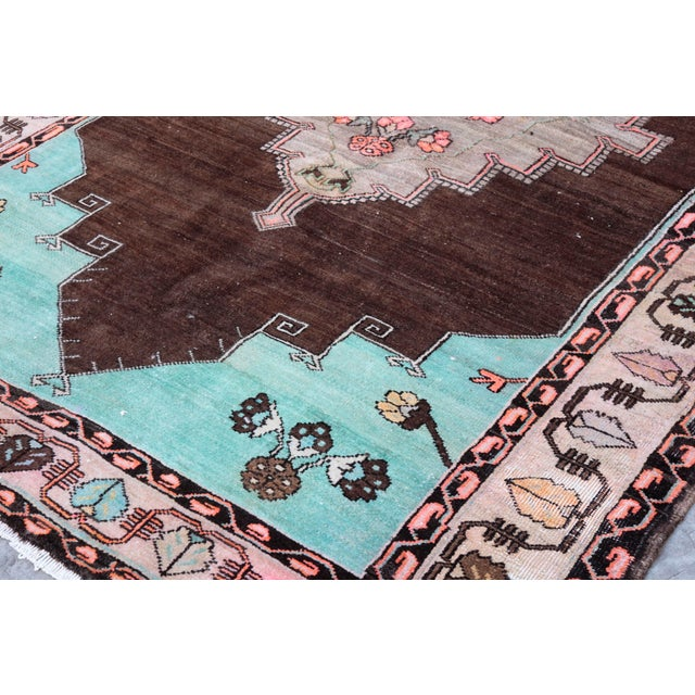 1980s Vintage Handmade Double-Knotted Turkish Rug - 9' 6'' X 5' 11'' For Sale - Image 9 of 13