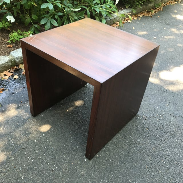Clean modern lines and a cool strie finish on this estate sale find. High-quality heavyweight solid wood with veneer...
