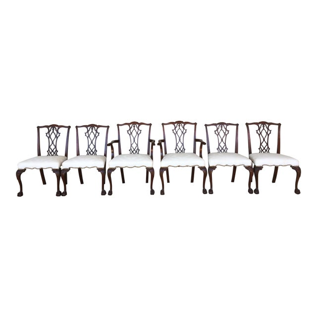 Vintage Baker Chippendale Style Ball & Claw Mahogany Dining Chairs - Set of 6 - Image 1 of 10