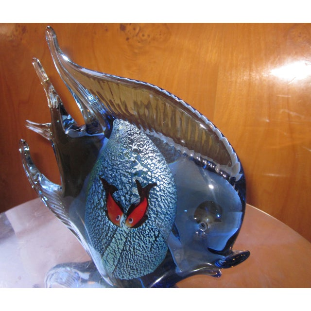 1960s 1960s Murano Glass Italian Art Glass Blue and Red Figural Fish Sculpture Object For Sale - Image 5 of 11
