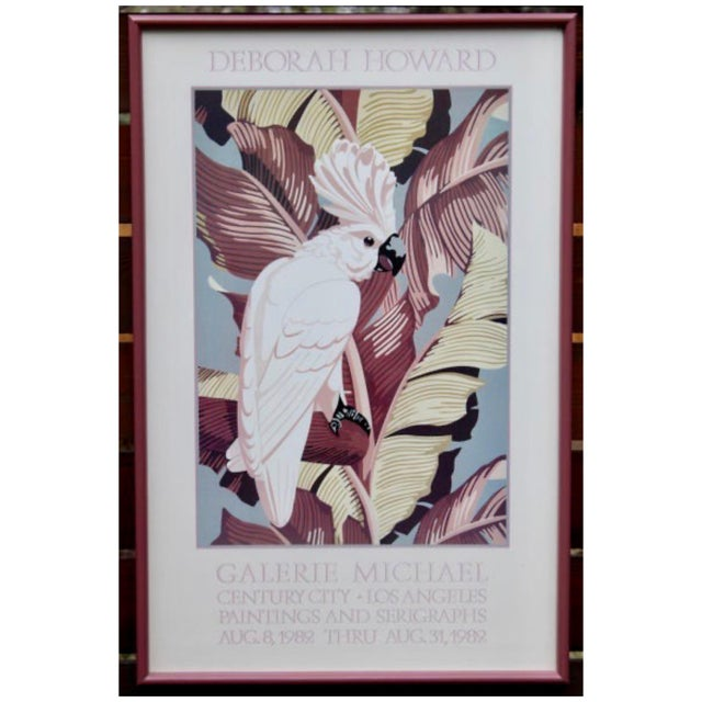 "Large Framed Art Advertisement Poster for Galerie Michael in Los Angeles, ""Cockatoo"" by Deborah Howard. Poster displays a..."