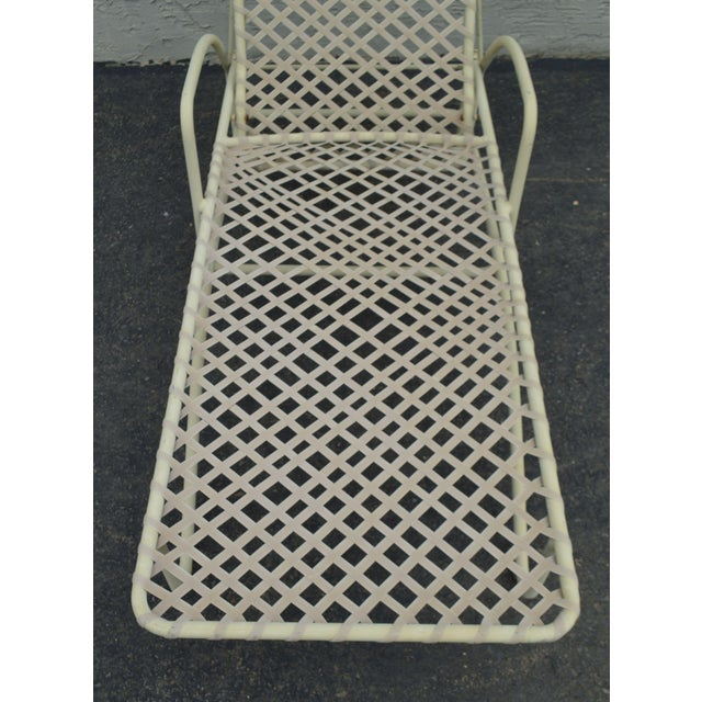 Vintage Brown Jordan Tamiami Vinyl Lace Patio Chaise Lounge For Sale - Image 10 of 13