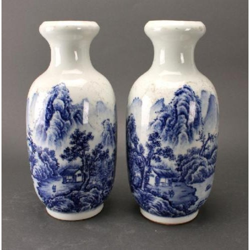 Beautiful pair of Chinese blue and white Rousseau vases.