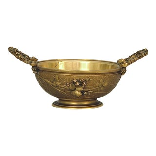 Antique French Bronze Vessel by the Famed Barbedienne Foundry of Paris, Grapes Motif For Sale